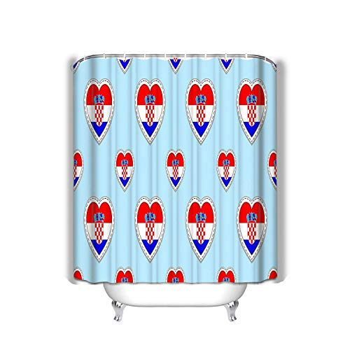 N\A Strand Duschvorhang Kroatien Flagge Kroatische Flaggen Stiker Liebe Herzen Symbole Textur Sprachkurse Fußball Sport Stoff Bad Dekor