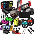 Switch Accessories Bundle - Orzly Geek Pack for Nintendo Switch: Case & Screen Protector, Joycon Grips & Racing Wheels, Switch Tablet & Controller Charge Docks & More [15in1] by Orzly