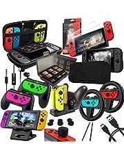 Orzly Accessories Bundle Kompatibel med Nintendo Switch - Geek Pack: Case & Screen Protector, Joycon Grips & Racing Wheels, Controller Charge Dock, Comfort Grip Case & More - JetBlack