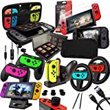 Orzly Zubehörpaket-Switch - Geek Pack für Nintendo Switch: Tragetasche & Displayschutzfolie, Joycon Grips & Lenkrad, JoyCon/Pro-Controller-Ladestation, Comfort Grip Tasche & More - JetBlack