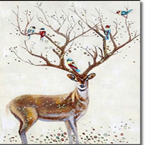 Leinwand Malerei Tierhirsche Bäume und Blumen Bilder Druckkunst für Zuhause Kinderzimmer Dekoration 50X70CM