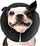 ZenPet Protective Inflatable Recovery Collar for Dogs and Cats - Soft Pet Collar Does Not Block Vision E-Collar - Designed to Prevent Pets from Touching Stitches, Wounds and Rashes (Medium)