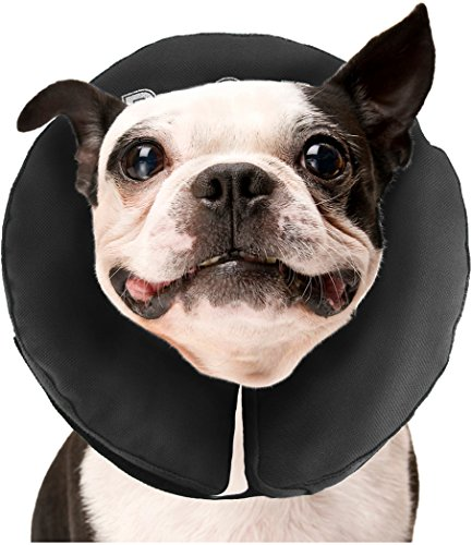 ZenPet Protective Inflatable Recovery Collar for Dogs and Cats - Soft Pet Cone Does Not Block Vision E-Collar - Designed to Prevent Pets from Touching Stitches, Wounds and Rashes (Medium)