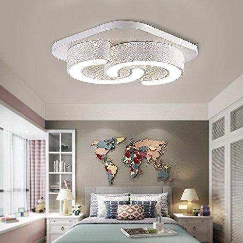 64W Lámpara de techo LED, lámpara de techo para salón, cocina, sala de estar, oficina, clase de protección de lámpara moderna (C-Design 64W Concha Blanca Luz Blanca)
