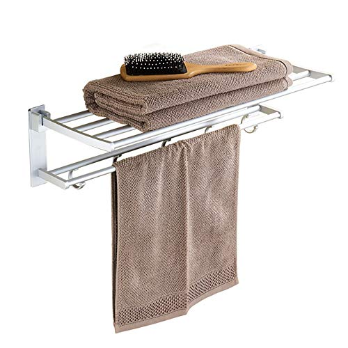 Amadon Free Punch Falten Doppel Handtuchhalter Raum Aluminium Bad Handtuchhalter Bad Lagerregal Wand Duschraum Lagerregal 60CM