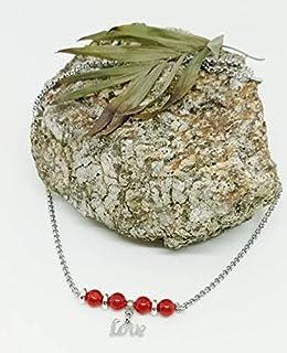 """Collar corto de Piedras Naturales, collar corto de mujer, collar de Coral Rojo, collar Día de los Enamorados, colgante""""Lov..."""