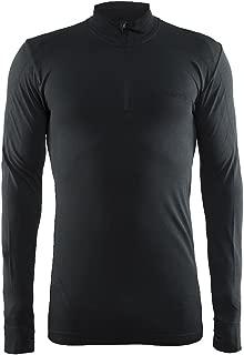 Craft Mens Active Comfort Long Sleeve Lightweight Base Layer Zip Shirt, Medium, Black Solid