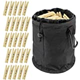 7Penn Wooden Clothespins with Bag - 50 Pack Set with...