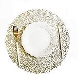 5 pièces 38 * 38cm napperon Table de cuisine Tapis de simulation de Noël PVC Table de tapis Table Décor Décoration Accessoires Tapis Argent/Or Dessous de plat