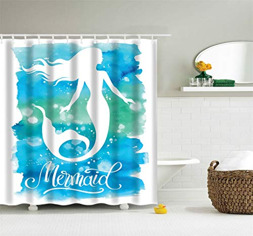 Weeier 72 x 72 inches Fabric Shower Curtain with Hooks Watercolor Painting Cute Mermaid Blue Green Turquoise Waves Lovely Bathroom Decor Waterproof Machine Washable