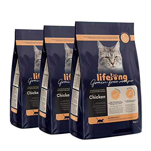 Amazon-Marke: Lifelong Alleinfuttermittel für ältere Katzen mit frischem Huhn Getreidefreie Rezeptur - 3kg *3