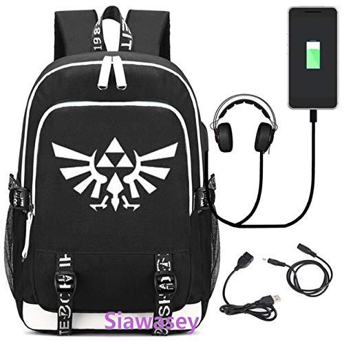 Siawasey - Mochila con diseño de anime japonés para cosplay, con puerto de carga USB negro La leyenda de Zelda 1 L