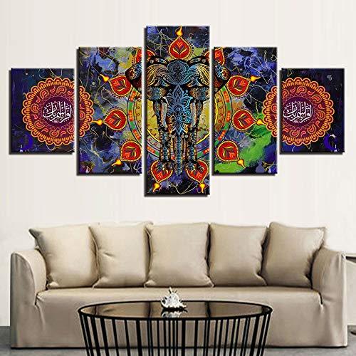 HNTHBZ Moderna Lienzo Pintura Modular Imágenes del Cartel del Arte de 5 Piezas hindú Elefante Decoración de la Sala de Estar o Dormitorio Pared Impresiones Animales