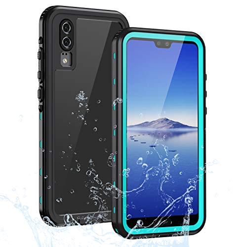 Lanhiem für Huawei P20 Lite Hülle, IP68 Zetrifiziert Wasserdicht Handy Hülle 360 Grad Schutzhülle, Stoßfest Staubdicht und Schneefest Outdoor Schutz mit Eingebautem Displayschutz - Blau