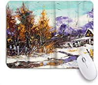 PATINISAマウスパッド 油絵タイプの木と雪景色 ゲーミング オフィス最適 高級感 おしゃれ 防水 耐久性が良い 滑り止めゴム底 ゲーミングなど適用 マウス 用ノートブックコンピュータマウスマット