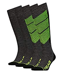 HEAD unisex ski socks ski socks thermal knee socks Graphic 791005001 2 pairs, color: yellow, size: 39-42, quantity: 2 pairs (1x 2-pack), item: -817 neon yellow