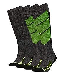 HEAD Unisex Skistrümpfe Skisocken Thermo Kniestrümpfe Graphic 791005001 2 Paar, Farbe:Gelb, Größe:39-42, Menge:2 Paar (1x 2er Pack), Artikel:-817 neon yellow