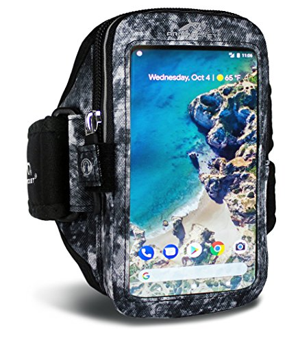 Phone Armbands for Running | Armpocket Ultra i-35 Phone Armband | Compatible with iPhone 12 Mini, SE 2020, Galaxy S7, Pixel 5, Phones with Cases up to 6 Inches | Arctic Storm Large Strap