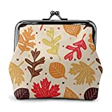 Coin Purse Wallet PU Leather Bag Colorful Collection of Leaves Womens Wallet Clutch Bag Ladies Retro Vintage Print Small Hasp