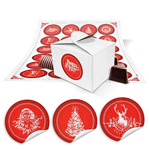 24 kleine witte geschenkdozen mini verpakking doos doos voor kerst in rood wit 8 x 6,5 x 5,5 + 24 ronde stickers retro kerststickers Ø 4 cm als Sinterklaas zakje, give-aways
