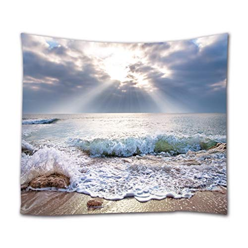 A.Monamour Tapices Playa Costa Paisaje Al Amanecer por La Mañana Vista Al Mar Naturaleza Paisaje Imagen Impresión Tela Hippie Mandala Tapiz Arte De La Pared Tapices Mantel Colcha 180x230cm