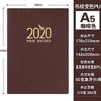 2020スケジュール365日ビジネスオフィスのノートブック-A5 Brown_ノートPCノートパッド