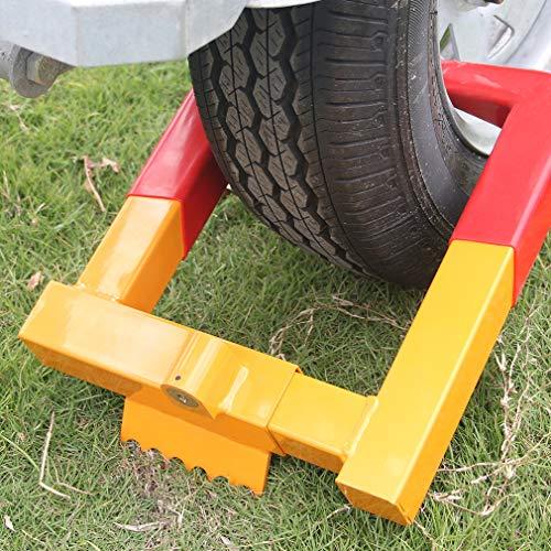 KAIRAY Anhänger Radschlossklemme - Reifenschloss Diebstahlsicherung Stiefel Reifenklauen Für ATV Trailers Gelb/Rot mit 2 Schlüsseln, Reifenbreite MAX 12