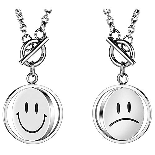 ZMJ Cute Pendant Necklaces for Women Rotatable Unique Double Sided Emoji Smile Cry Face Pendant Spinning Sweater Long Necklace (Silver)