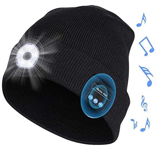 Rpanle Bluetooth Mütze Geschenke für Männer und Frauen, LED Mütze Kappe mit Licht Einstellbare Helligkeit, Musik Mütze Beanie mit Bluetooth 5.0 Kopfhörern Wintermütze Strickmütze für Walking, Camping