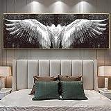 Cuadro de lienzo con alas de ángel, blanco y negro, estilo vintage, abstracto, arte de pared, lienzo de pared, moderno, decoración del hogar, sin marco (50 x 150 cm)