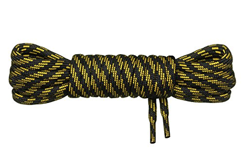 Di Ficchiano runde Schnürsenkel für Trekkingschuhe und Arbeitsschuhe - extra reißfest - ø 5 mm Farbe Schwarz-Gelb-m3 Länge 70cm