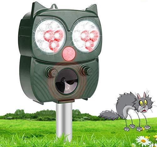 HOSPAOP Katzenschreck Ultraschall Solar, HIBOER Katzenschreck Tiervertreiber mit 5 Modus Einstellbar, wasserdichte Utraschall Abwehr für Katzen, Hunde,Schädlinge,Rotwild,Füchse,Mäuse,Vögel,Skunks