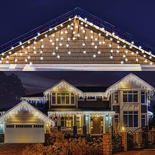 LED Lichterkette Eisregen, AKASUKI 7.5M 200 LED Lichtervorhang mit 8 Beleuchtungsmodi, Eiszapfen Lichterkette Innen und Außen, Strombetrieben für Party, Hochzeit, Balkon, Garten Deko, Kaltweiß