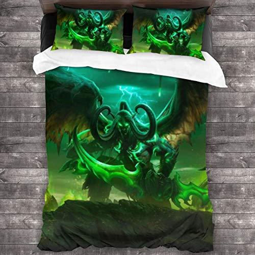 Yellowbiubiubiu World of Warcraft Illidan 3-teiliges Bettwäsche-Set, Bettbezug und Kissenbezug, mit 1 Steppdecke (26,6 x 177,8 cm), 2 Kissenbezüge (50,8 x 76,2 cm)