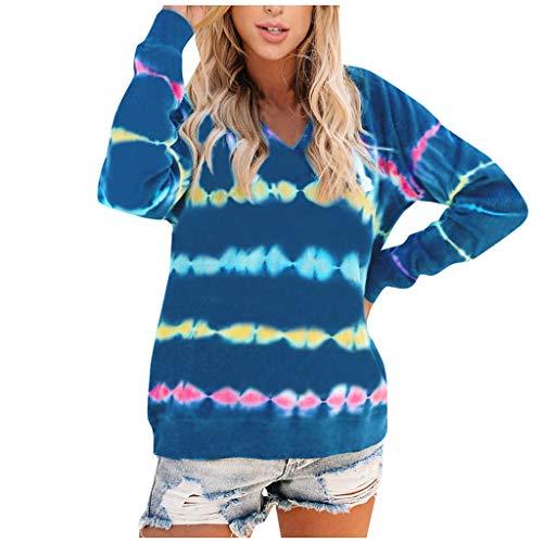 Buy Bargain ANJUNIE Women Lightweight Tie Dye Hoodie Sweatshirts Pullover Hooded Tops Baggy Tops Blo...