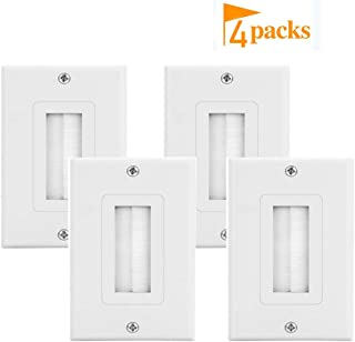 Brush Wall Plate Decora Style Cable Pass Through Insert Wall Plate for Wires,Single Gang Decorative Style Cable Wall Plate Port,Works with AV,HDMI,Home Theater,White 4pack