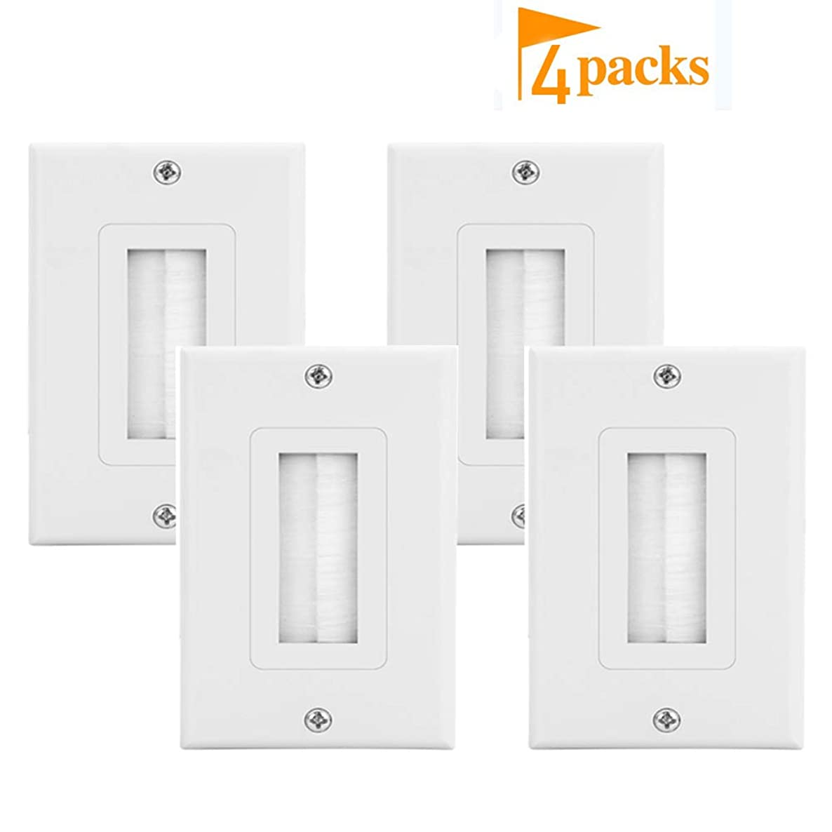 Brush Wall Plate Decora Style Cable Pass Through Insert fWall Plate Cable Pass Through Insert for Wires,Single Gang Decorative Style Cable Wall Plate Port,Works with AV,HDMI,Home Theater,White (4pack)