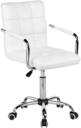 Yaheetech White Faux Leather Swivel Computer Desk Chair Adjustable Gas Lift Stool Home Office Study Room Furniture