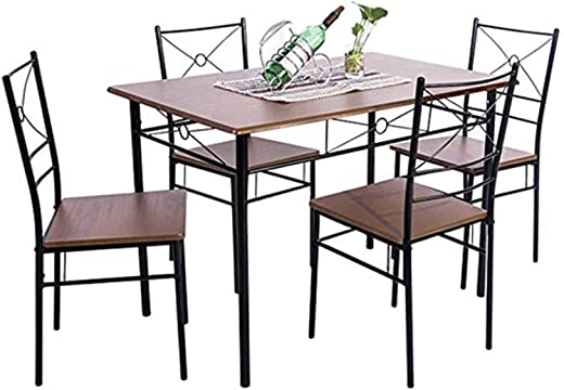 B07T727DJH✅Simply-Me 5 Pieces Dining Table Set Modern Wood & Metal Dining Room Table and Chairs Furniture for Kitchen,with 4 Dining Chairs,Walnut