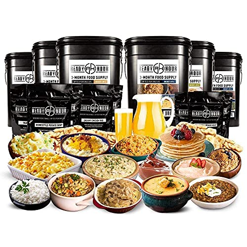 3-Month Emergency Food Supply - 876 Servings - (2,000+ calories/day) by Ready Hour