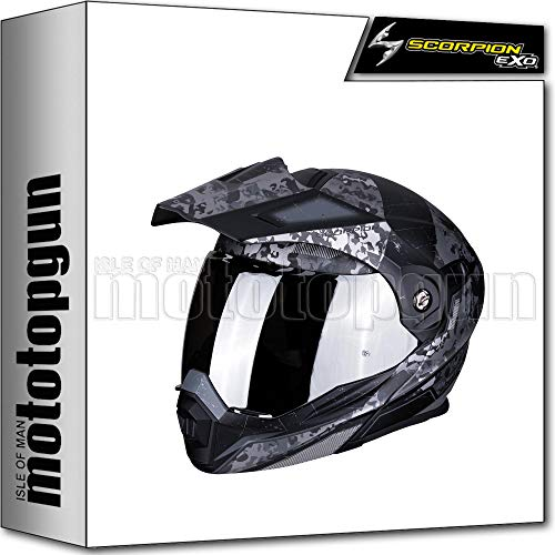 SCORPION CASCO MOTO INTEGRAL ADX-1 BATTLEFLAGE NEGRO MATT-PLATA SZ. XL