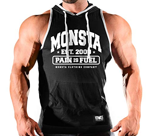 Monsta Clothing Co. Men's Workout (Monsta-Est09) Hooded Tank Top (G:BK/WT-A:WT)