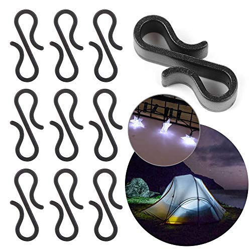 Starlife 115Pcs Outdoor Mini Gutter Hooks, S Clips Hangers for Christmas Xmas Icicle Fairy String Lights Tile Roof External Plastic (Black)