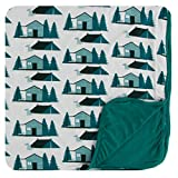 KicKee Pants Print Toddler Blanket, Silky Soft Baby Blankets, Viscose from Bamboo Fabric, Security Blanket, Easy Transition from Crib to Bed - Unisex Style (Natural Cabins and Tents - One Size)