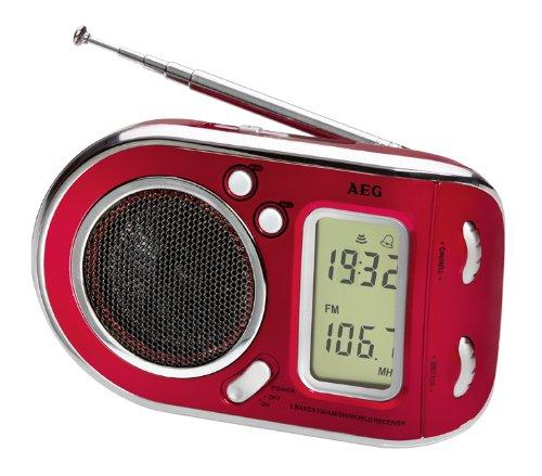 AEG WE 4125 Weltempfänger 2in1 Radio und Wecker in Einem, Digitale Frequenzanzeige rot