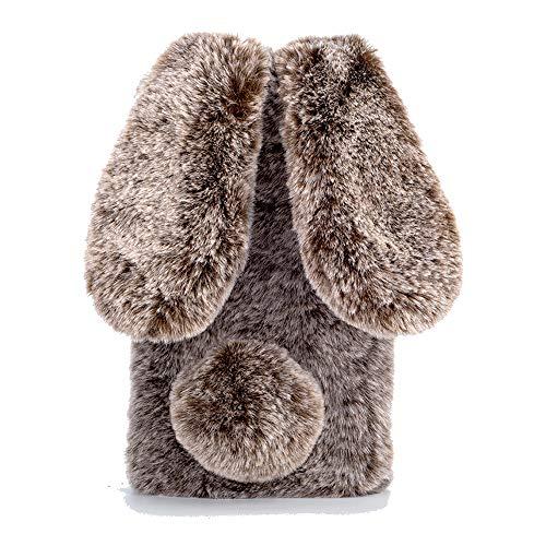 Nadoli Hase Pelz Hülle für Xiaomi Redmi 9C,3D Kaninchen Ohr Case Warme Winter Flauschige Plüsch Schutzhülle Handy Schale Tasche Soft Haut für Xiaomi Redmi 9C,Braun