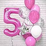JSTF 12 unids/set de globos de látex de papel de aluminio de números de color rosa decoración de fiesta de cumpleaños de un año de edad niño decoración de bebé globos de ducha número 5set