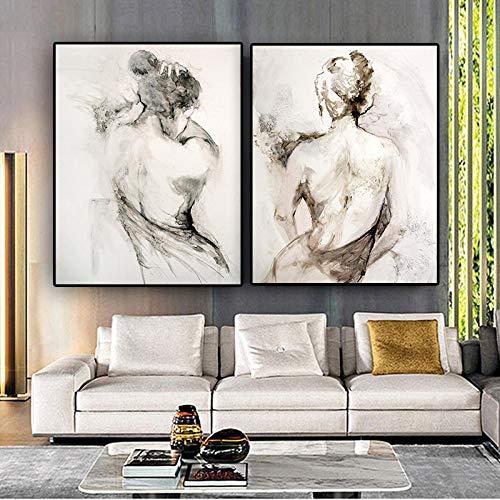 DMPro Abstracto Negro Blanco Mujer Sexy Espalda Desnuda Pintura al óleo sobre Lienzo Carteles e Impresiones escandinavo Pared Arte Imagen habitación40x55 cm sin Marco x2