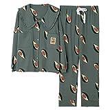 Pijama Mujer PrimaveraConjunto De Pijamas Suaves Y Cálidos De Primavera para Mujer, Ropa De Dormir De Aguacate De Seda Verde A La Moda De Otoño, Ropa De Dormir De Satén 100% Algodón para El Hogar-Ve