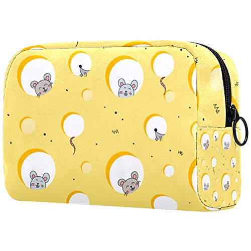 Travel Cosmetic Organizer for Women with Zipper Makeup Bag Toiletry Bags Mice in Cheese
